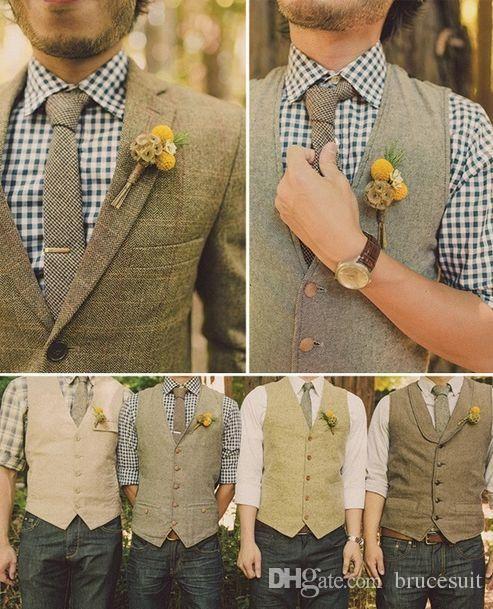 2017 Unique Wool Tweed Vest 3 Style For Choose Groom Vests British Mens Suit Farm Wedding Waistcoat Dress Slim Fit