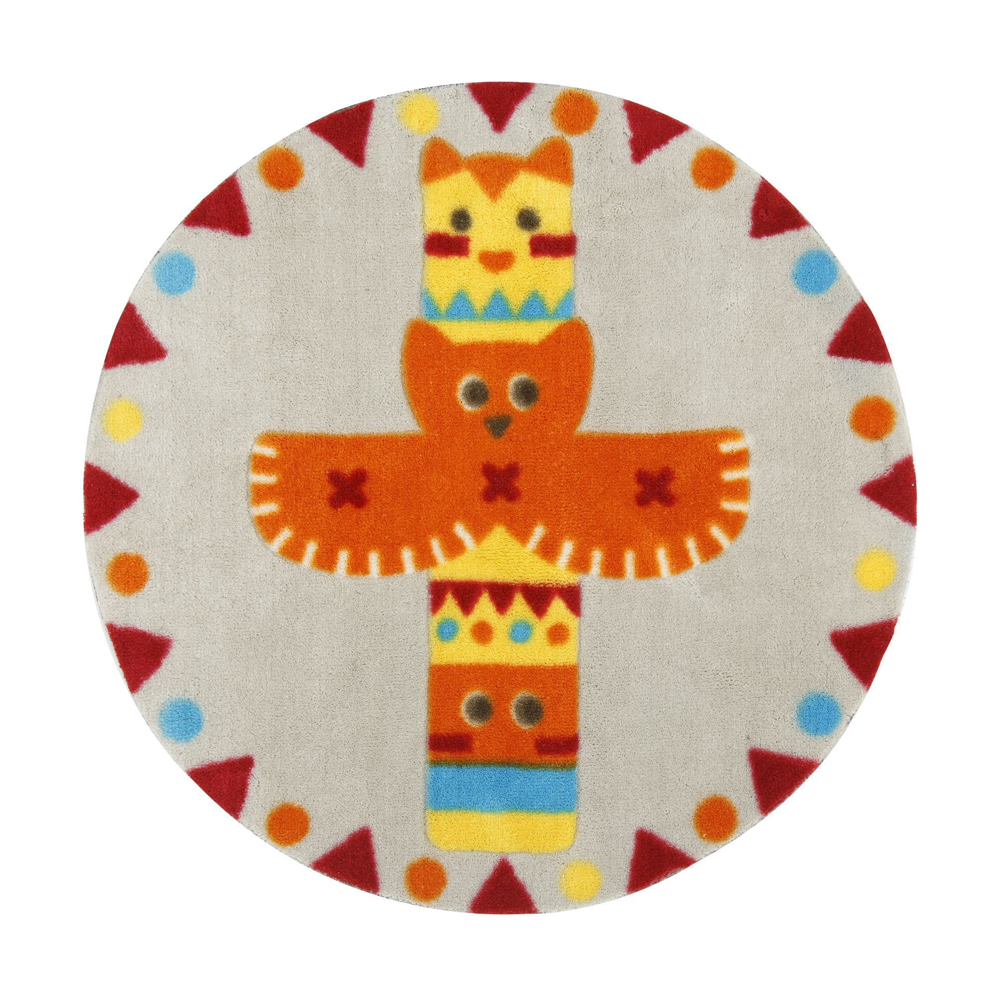 tapis rond d70cm pour enfant motif totem gris orange indiana les tapis de chambre d 39 enfants. Black Bedroom Furniture Sets. Home Design Ideas