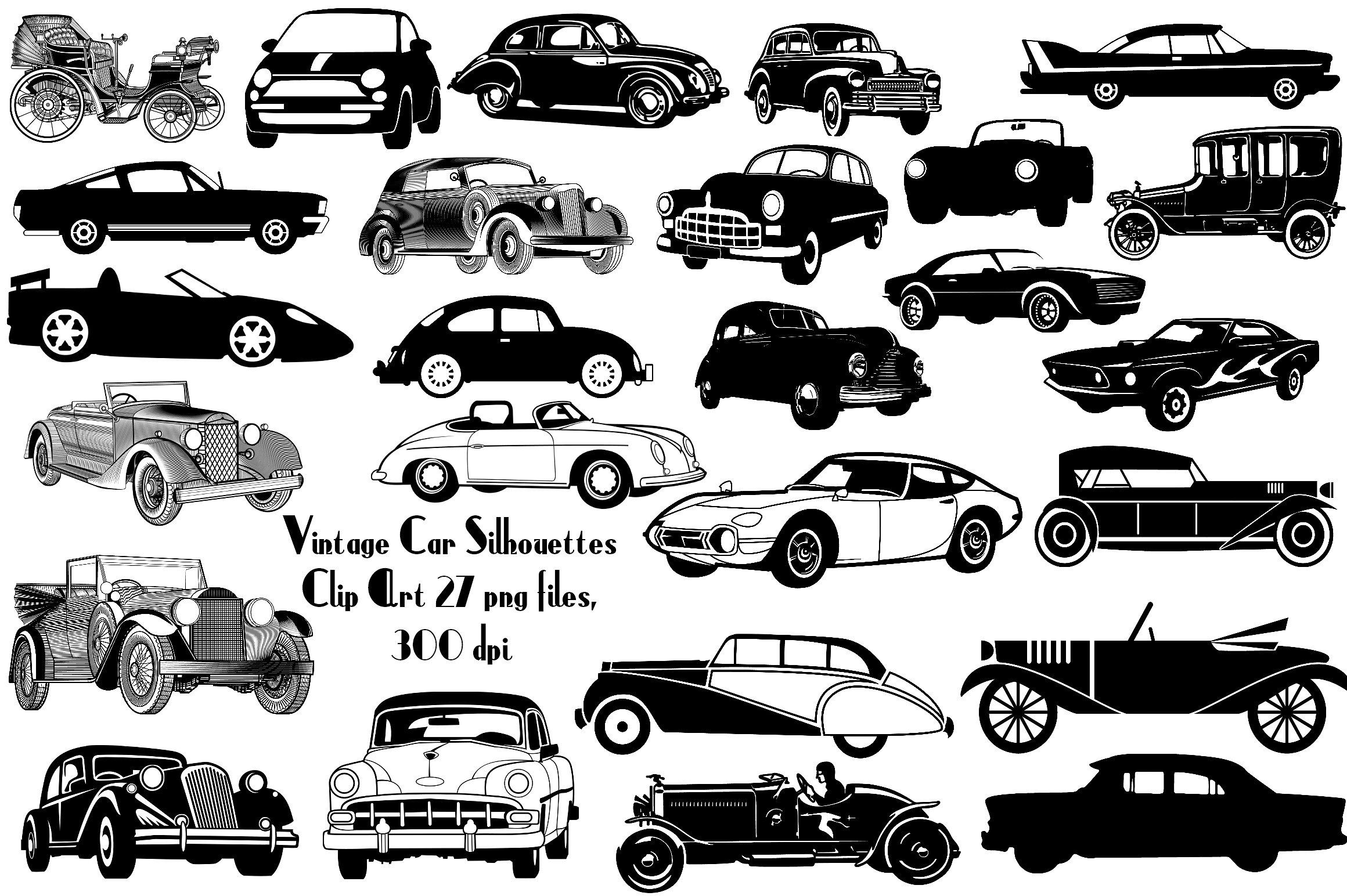 Vintage Car Silhouettes AI EPS PNG #widest#inches#graphics ...