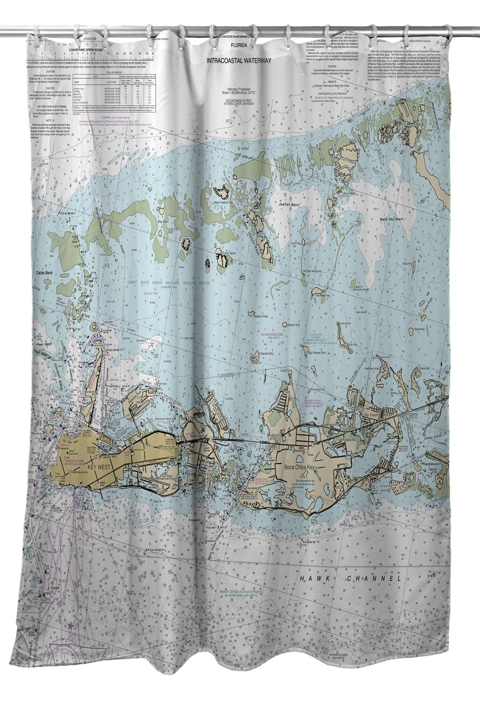 FL Key West Boca Chica Nautical Chart Shower Curtain