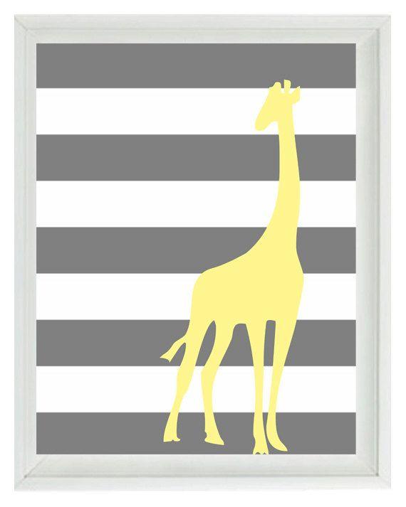 Giraffe Yellow Gray Nursery Wall Art Print - Children Kid Baby ...