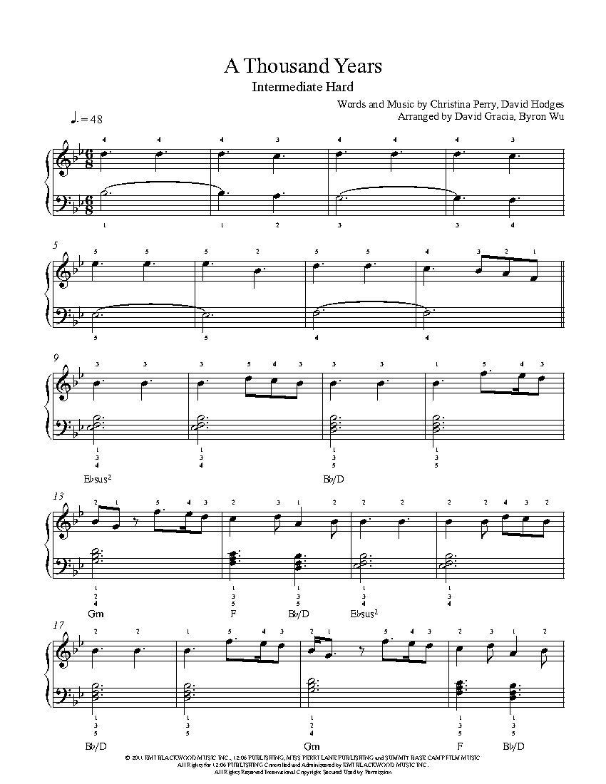 a thousand years by christina perri piano sheet music