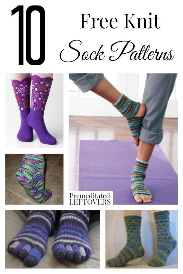 10 Free Knit Sock Patterns including 2 needle sock patterns, easy ...