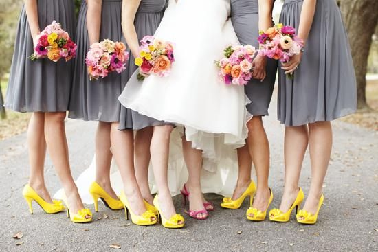 Dress wedding yellow shoes