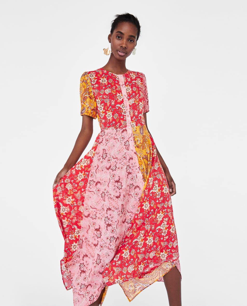 Long Patchwork Dress Patchwork Dress Zara Dresses Womens Midi Dresses