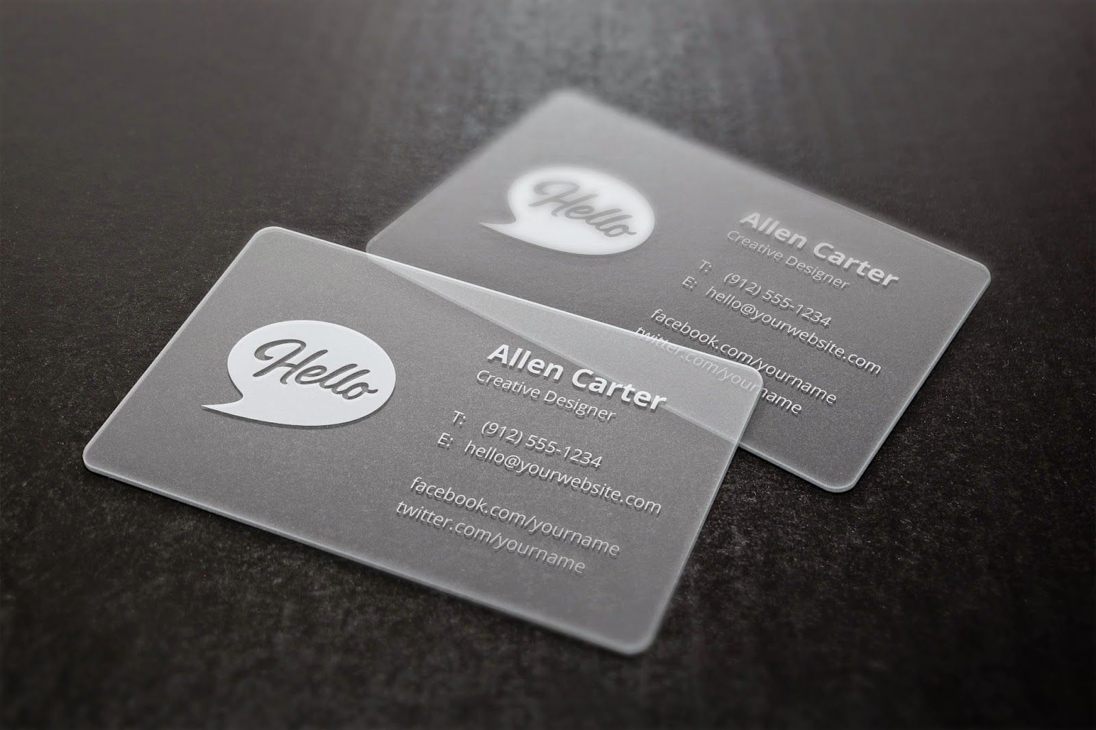translucent business cards mockup psd  graphic design & business