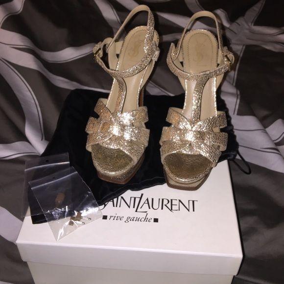gold ysl tribute sandals