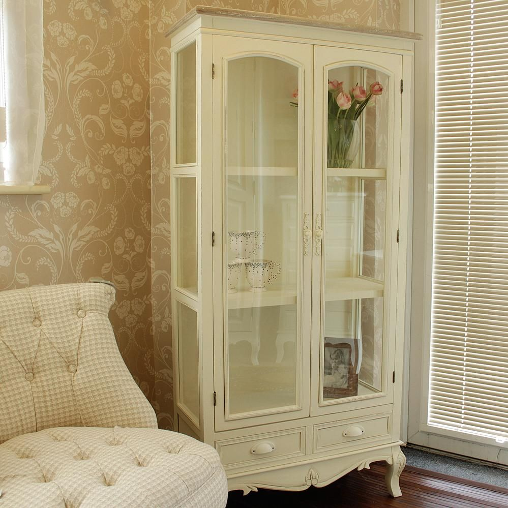 Cream Kitchen Doors: Cream Glass Display Cabinet With Drawers