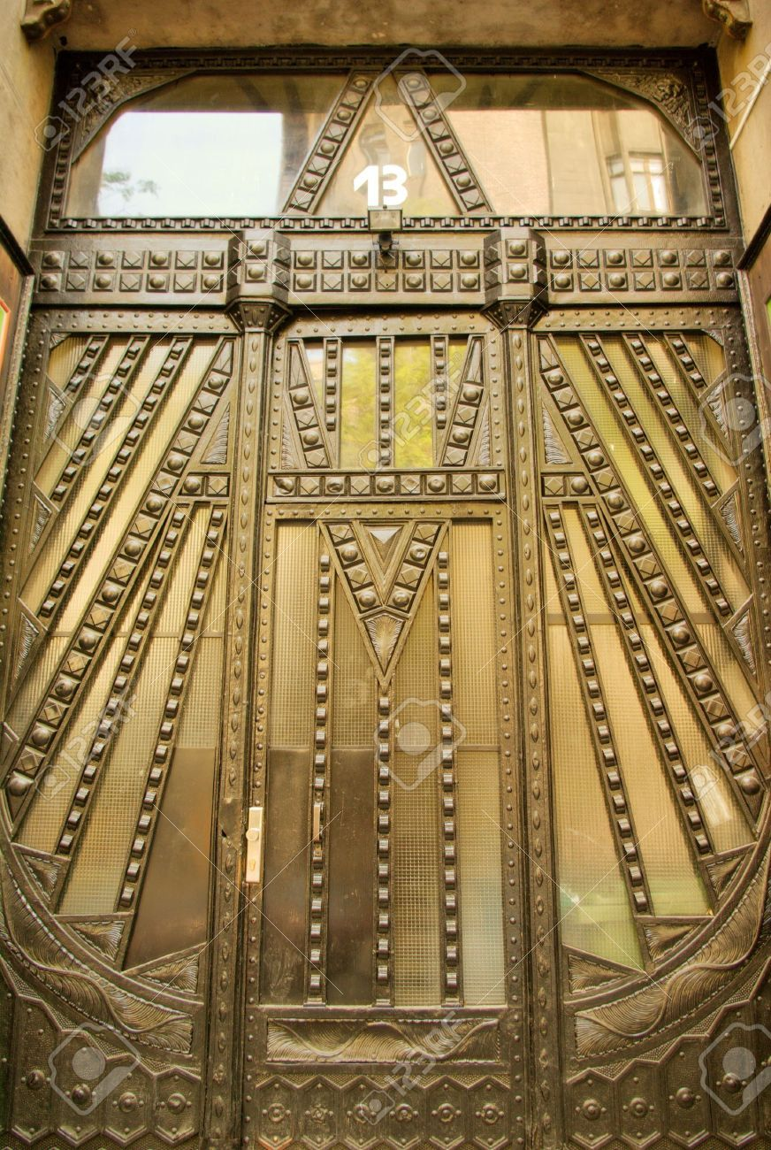 Geometric design in wrought iron on the door of an art deco