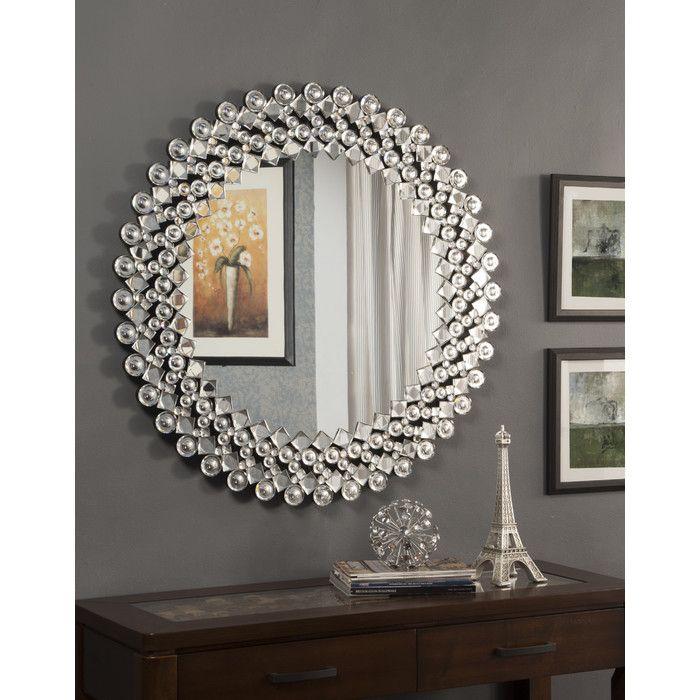 Orren Ellis Highcliffe Round Crystal Wall Mirror Wayfair Crystal Wall Antique Mirror Wall Mirror Gallery Wall