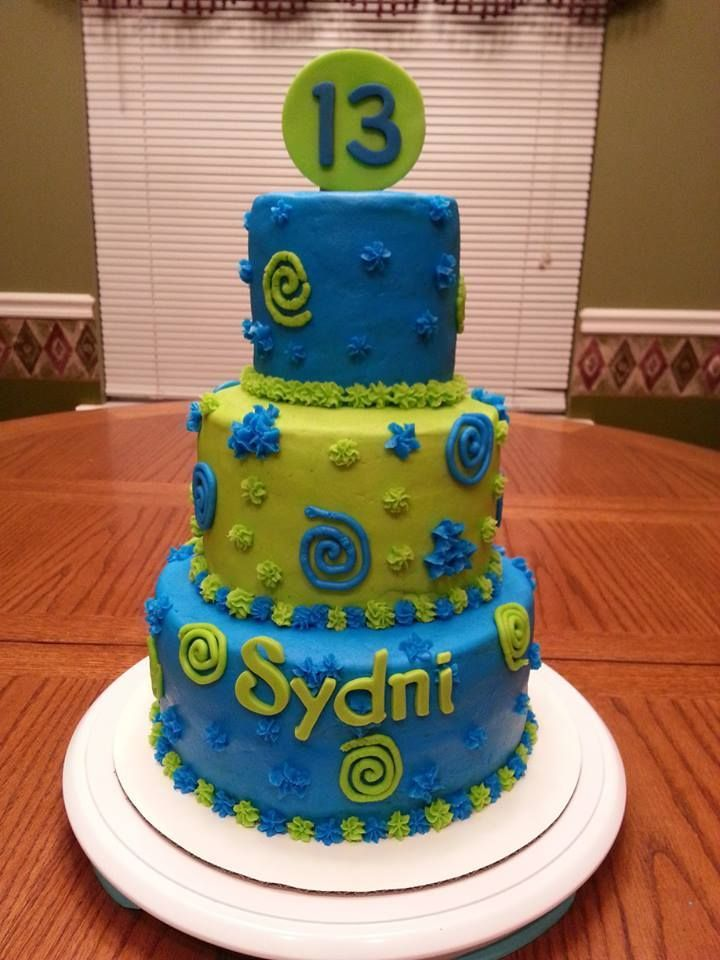 Lime Green And Blue Cake