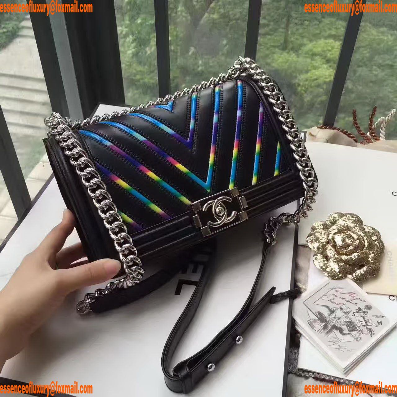 Replica Womens Handbags Chanel Iridescent PVC Leather Boy Flap Bags 25CM  A118PP800 AA15539 3bf144e4573