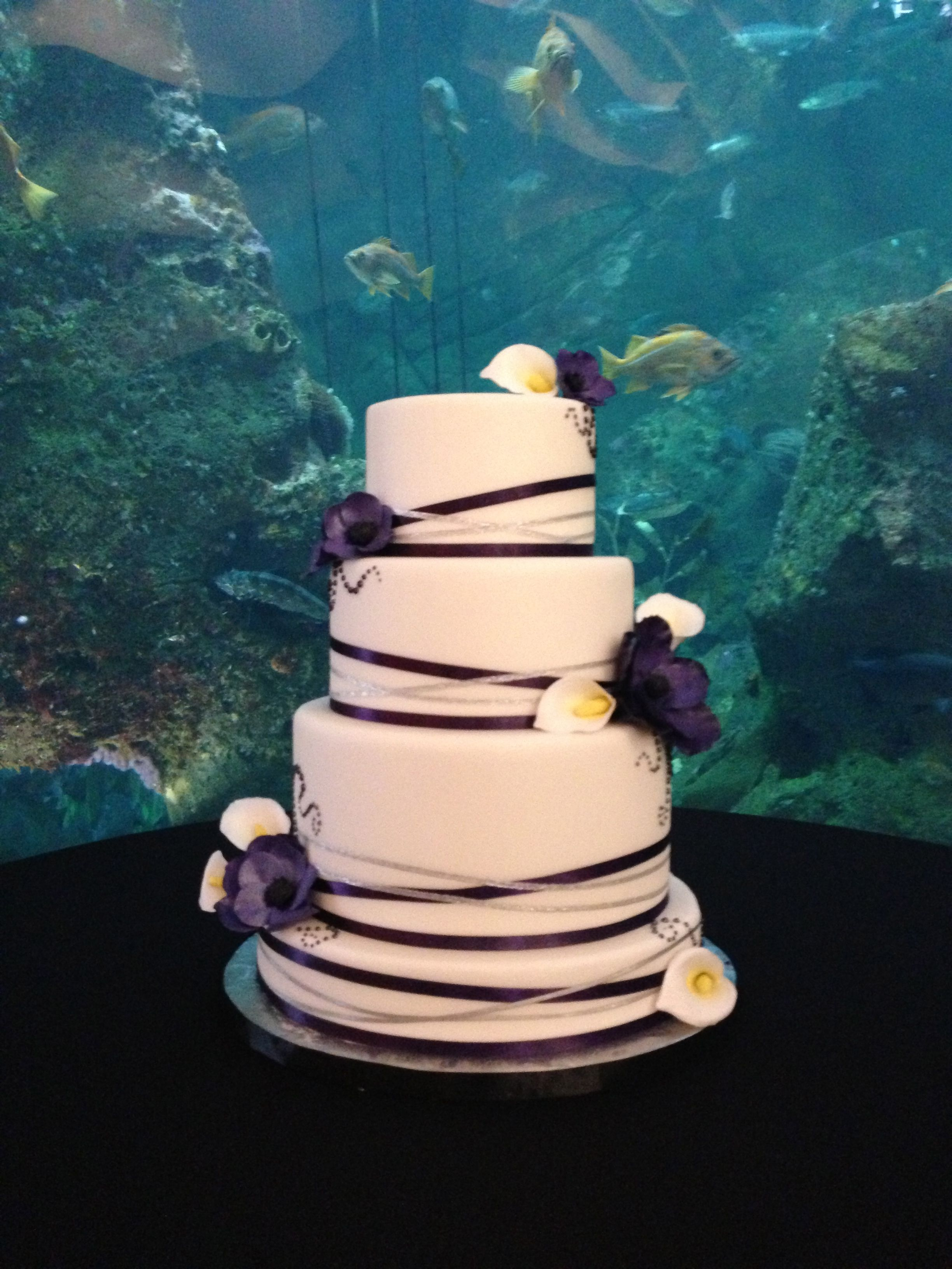 Three Tiered Wedding Cake Purple and Silver Ribbon