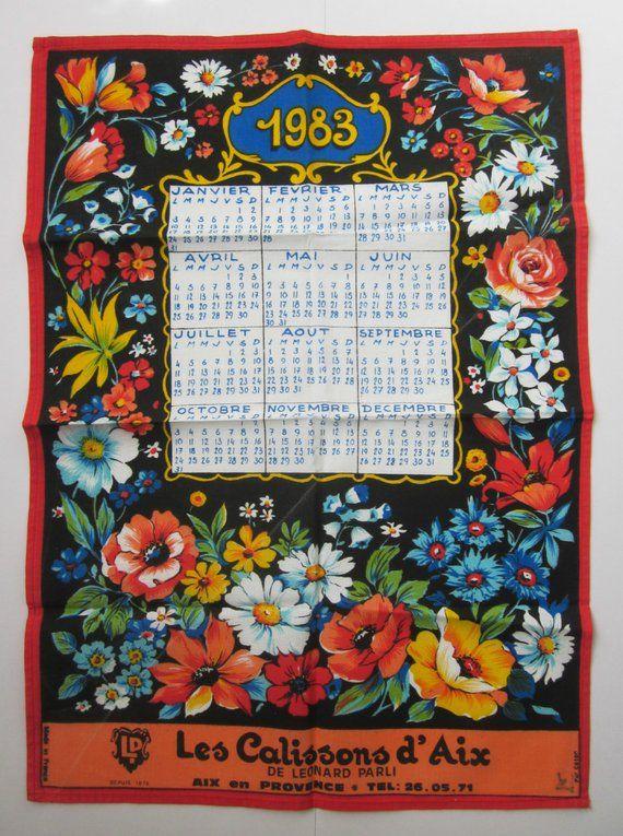 Vintage French Towel Calendar 1983 1980s Retro Kitchen Antique
