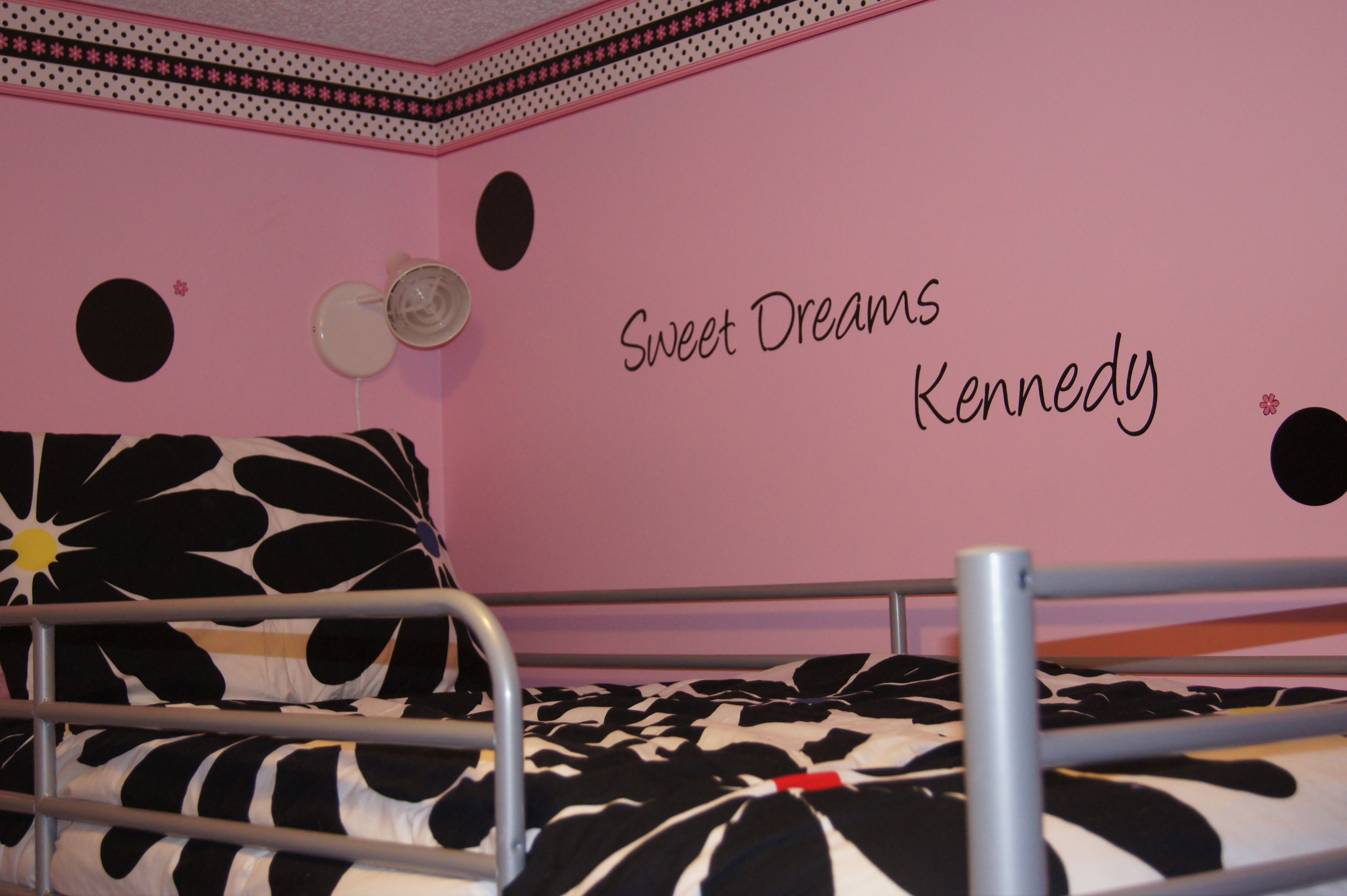 Wall Decal: Polka dots are so much easier to do with vinyl than painting them and I love the font with this quote.