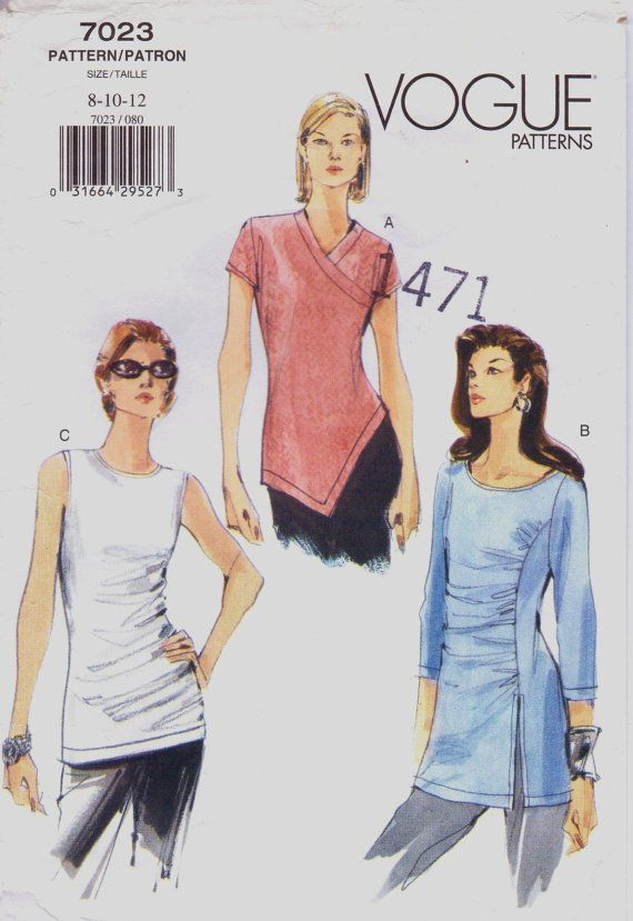 Vogue Sewing Pattern 7023 Womens Shirred or Asymmetrical Summer Tops ...