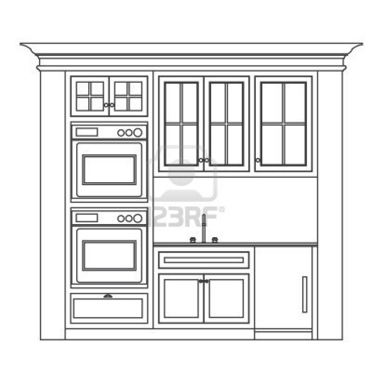 Kitchen Cabinet Design Drawing Kitchen Elevation Line Drawing ...
