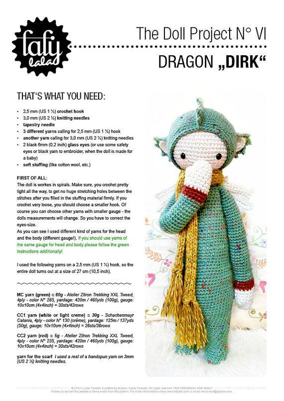 DIRK the dragon / dinosaur lalylala amigurumi crochet by lalylala ...