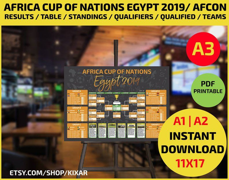 Africa cup of nations egypt 2019 afcon wallchart