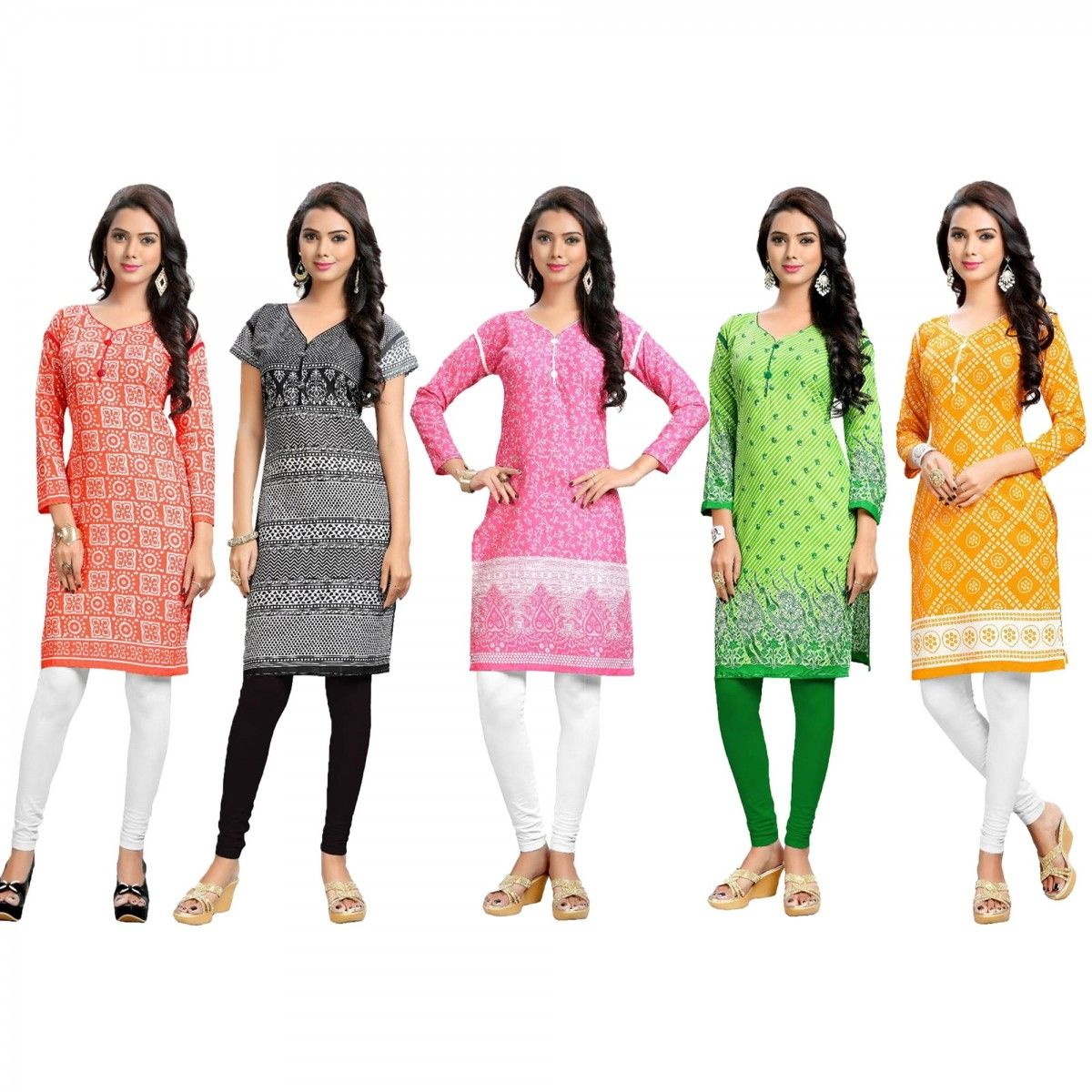 9ce286d3b5 Buy Pack of 5 Printed Casual Wear Kurti for womens online India, Best  Prices,