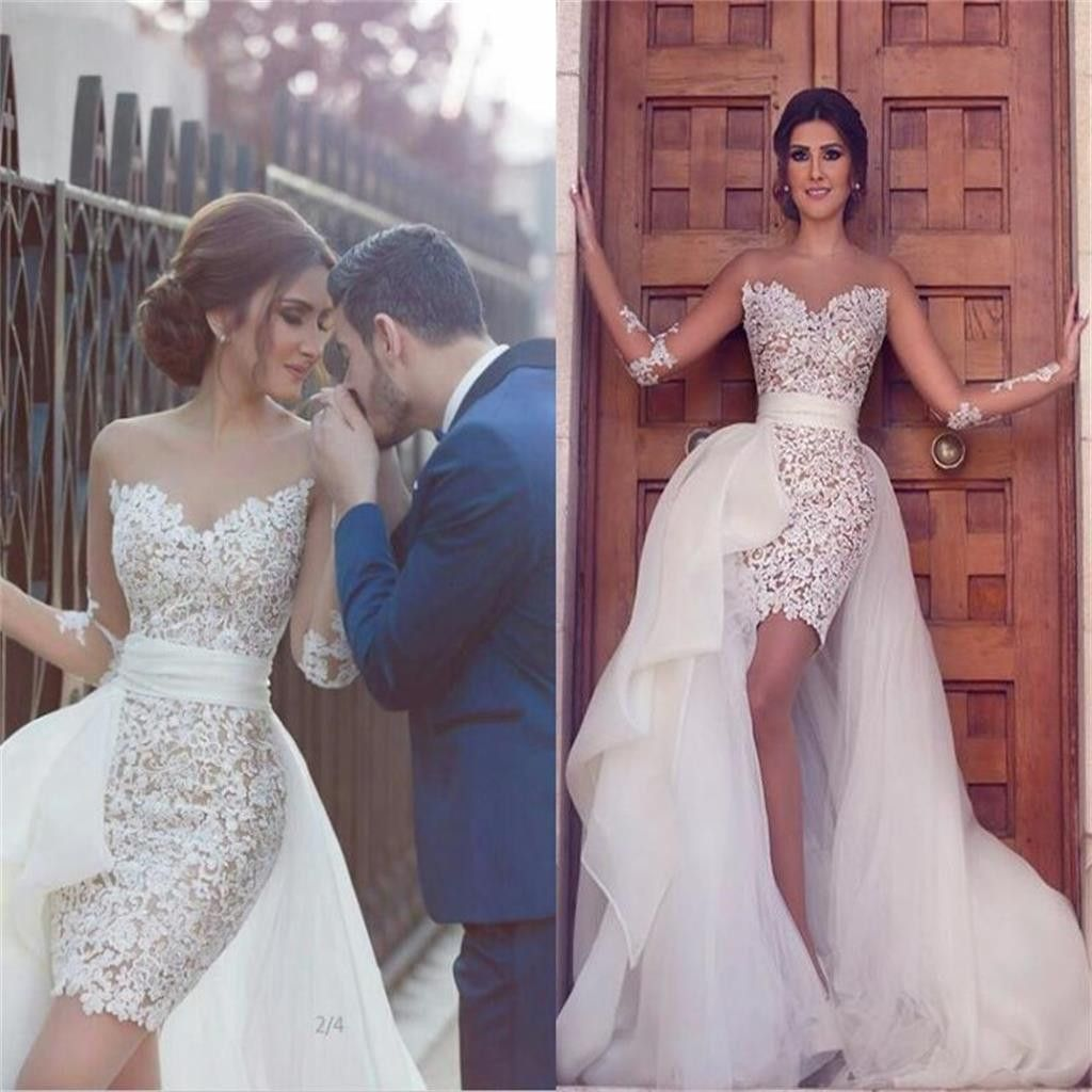 Sweetheart Long Sleeve Wedding Dress With Detachable Train Latest Short Lace Bridal Gown Pd0226