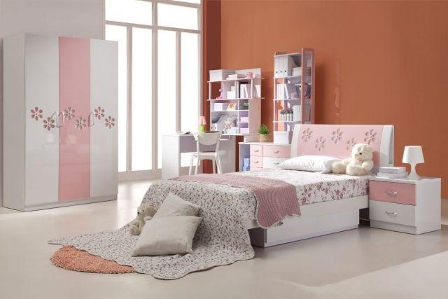 GroB Kinderzimmer Farben Ideen Mädchen Weiß Rosa Orange Wand