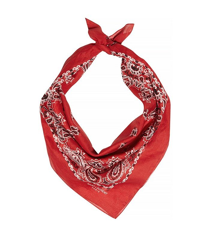 Saint Laurent Paisley-Print Cotton Bandana Scarf in Red