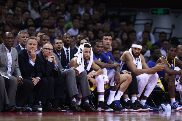 2787c76fe13 Stephen Curry Kevin Durant Zaza Pachulia JaVale McGee and coach Steve Kerr  of the Golden State Warriors react during the game between the Minnesota.
