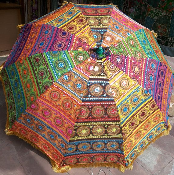 Garten Sonnenschirm Gross Sonnenschirm Mit Bunter Stickerei Durchmesser 6 Ft 72 Zoll Rasen Regenschirm Hochze Beach Umbrella Umbrella Umbrella Decorations