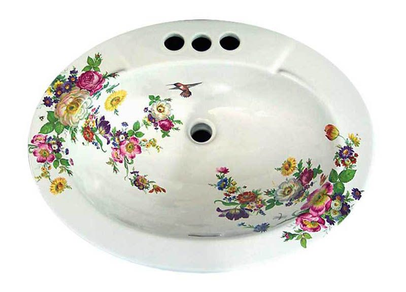 Scented Garden Fl Drop In Painted Bathroom Basin French