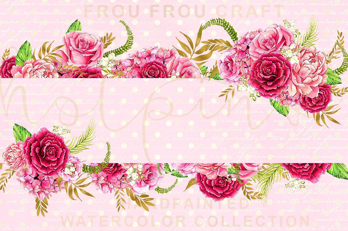 Watercolor Hot Pink Flowers Clipart Hot pink flowers