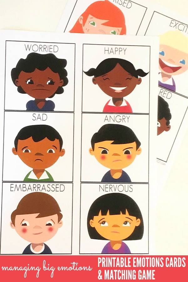 Managing Big Emotions: Printable Emotions Cards & Matching Game ...