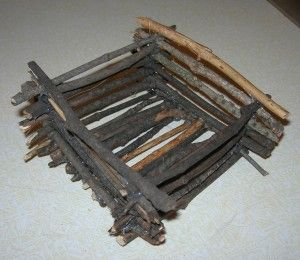 Autumn twig craft - great for teaching about Lincoln's log cabin