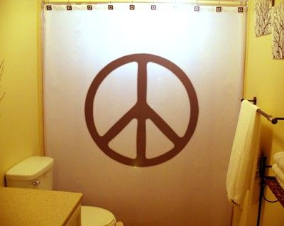 Peace Sign Shower Curtain 70s Hippie