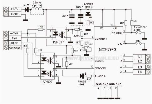 Potencia para step motor con entradas fotoacopladas