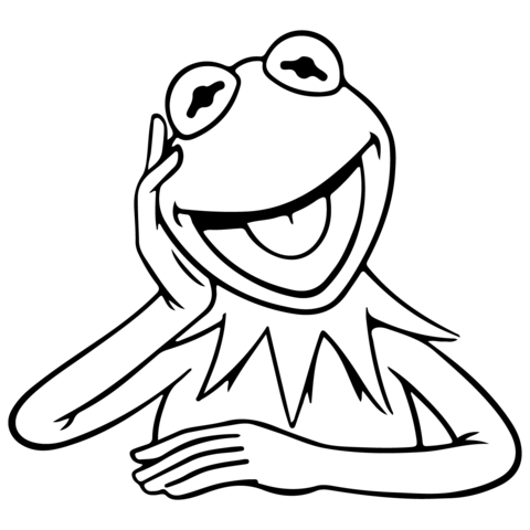 The muppets kermit the frog vinyl decal disney in 2018 for Kermit the frog coloring page