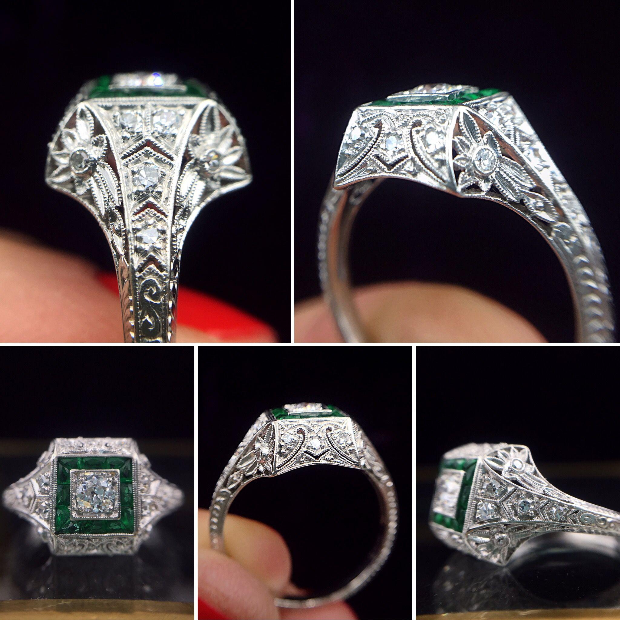 Exquisite Hand Carved Platinum Diamond Engagement Ring