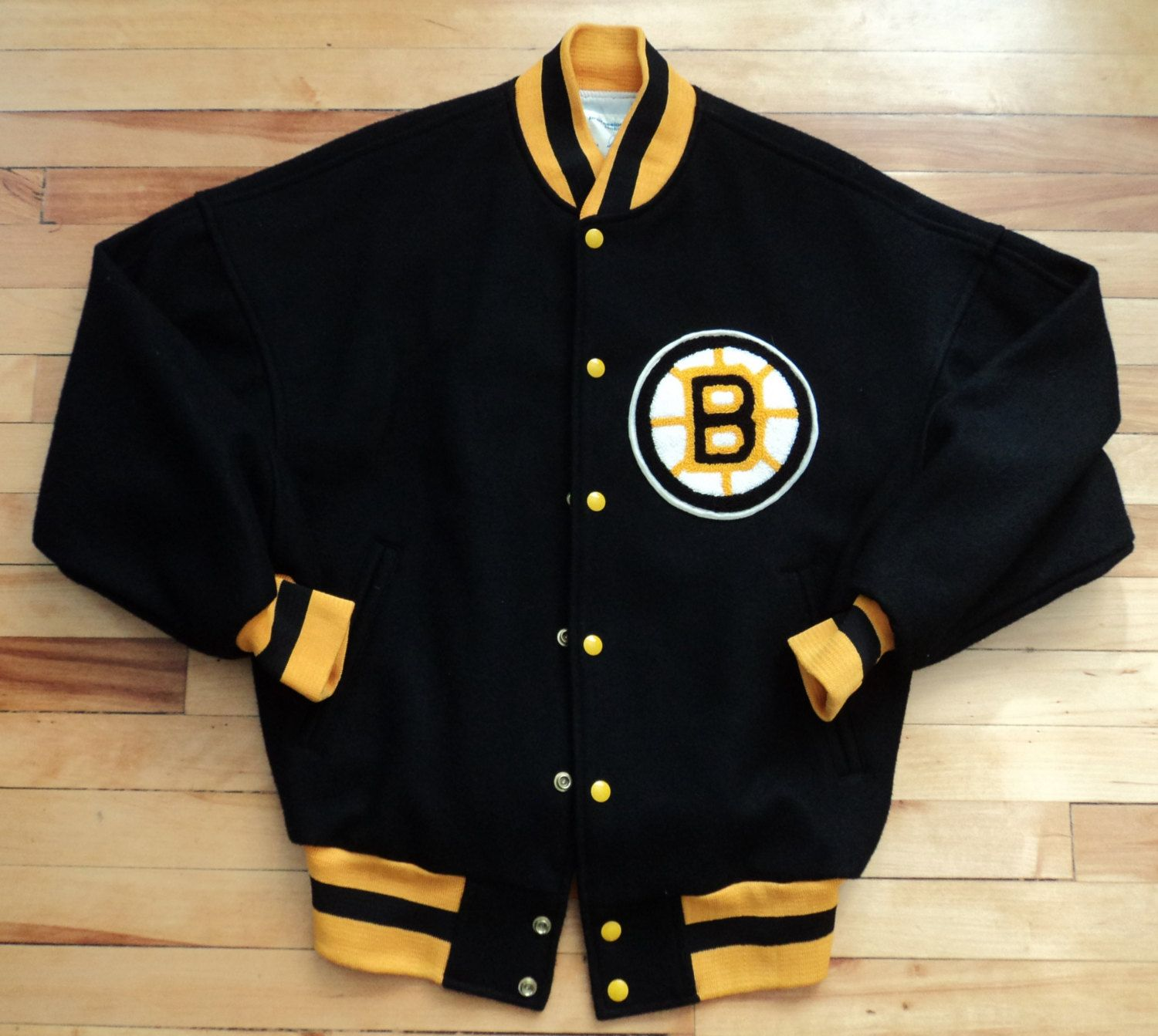 Vintage Boston Bruins Medium Letterman Jacket NHL VTG - Free Shipping!