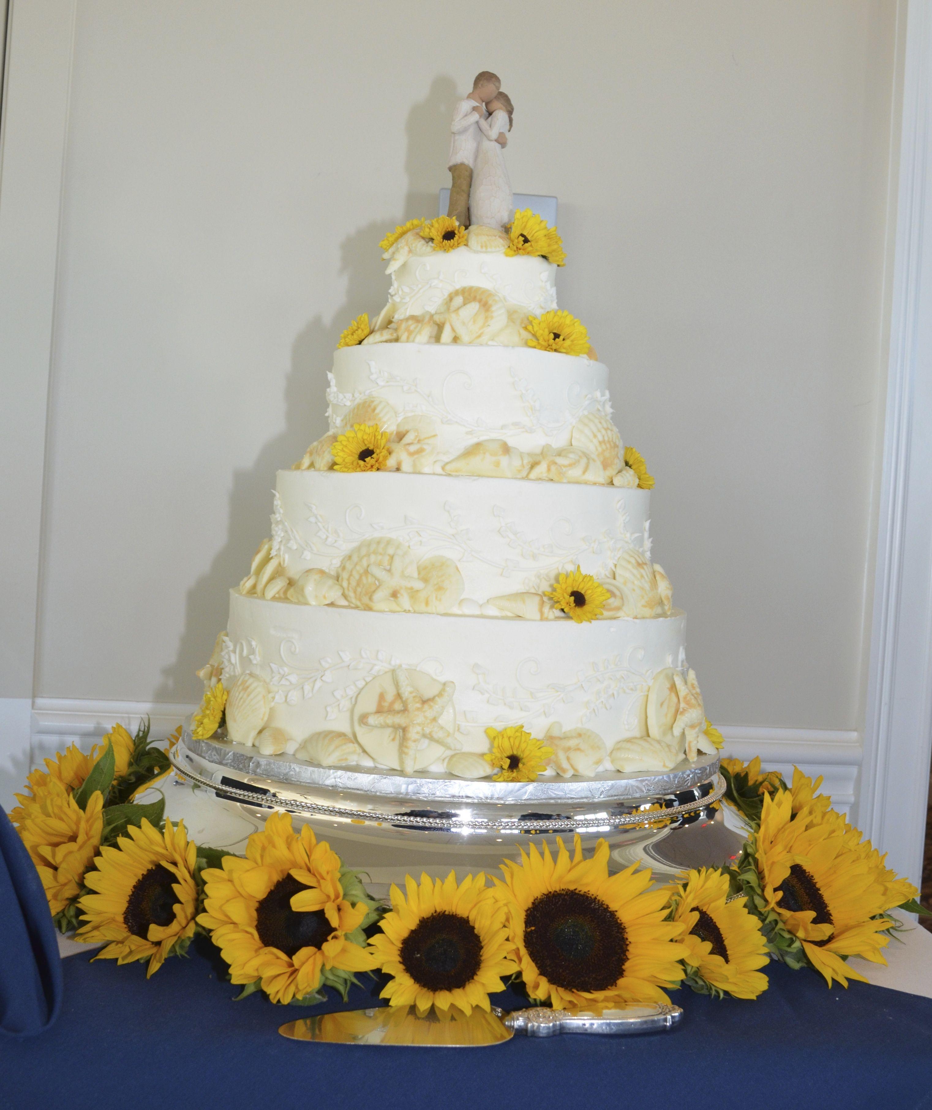 Sunflower Seashell Wedding Cake By Veronicas Sweetcakes Of