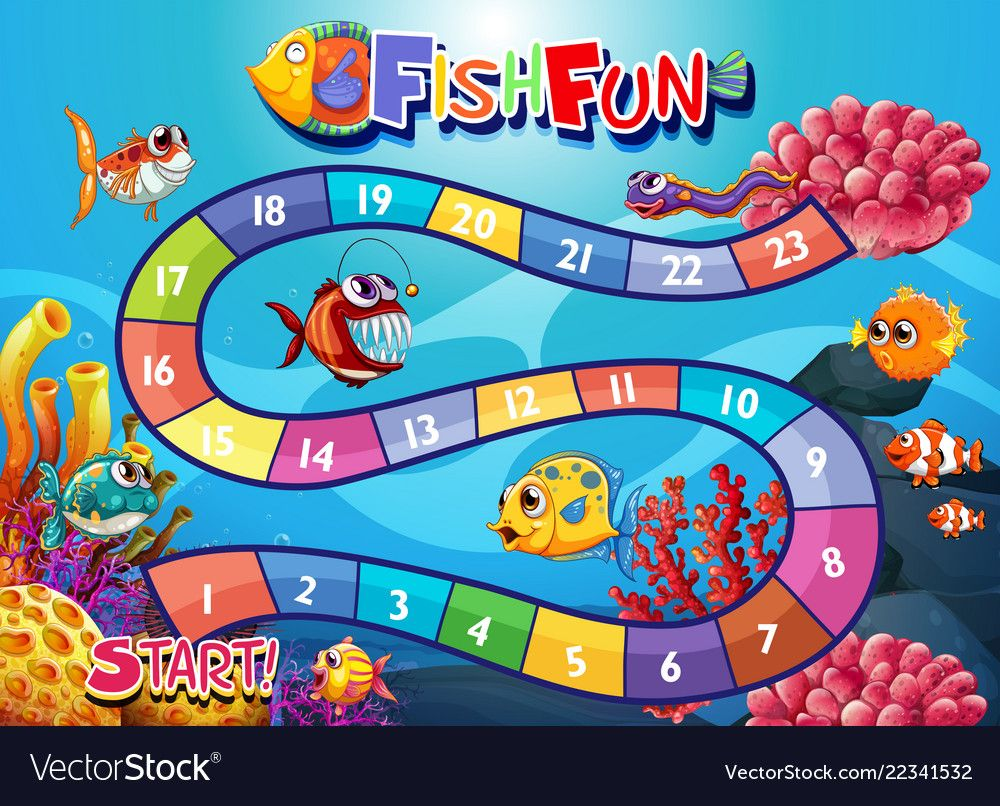 Underwater fish board game template vector image on