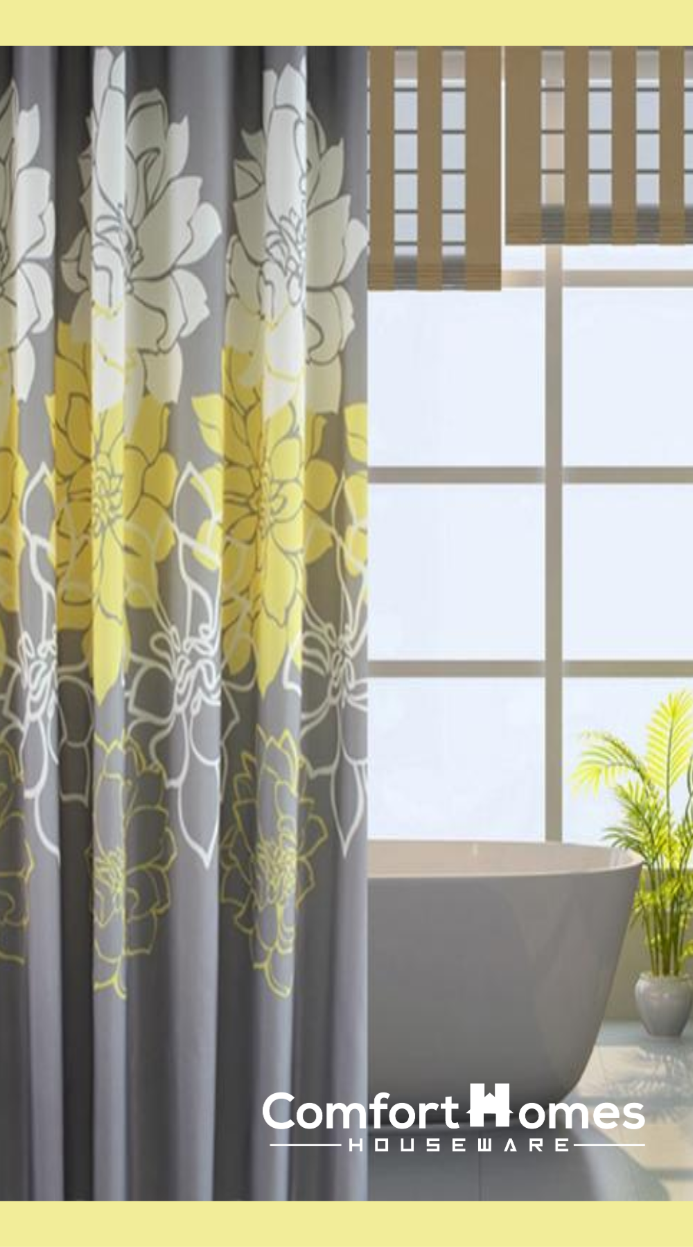 Gray Background And Flowers Pattern Fabric Shower Curtain Fabric Shower Curtains Yellow Shower Curtains Floral Shower Curtains
