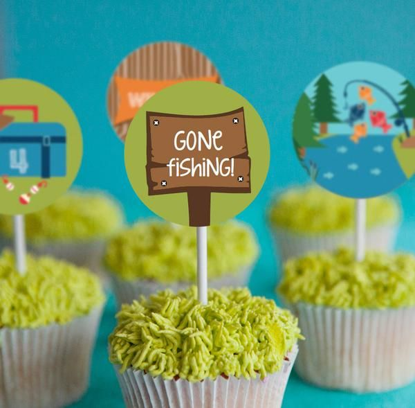 fishing party cupcake toppers