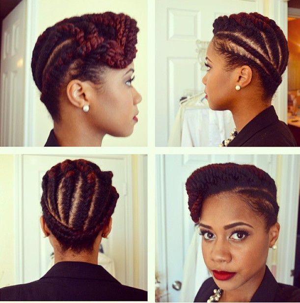 How To Two Strand Flat Twist Updo Protective Style On Natural