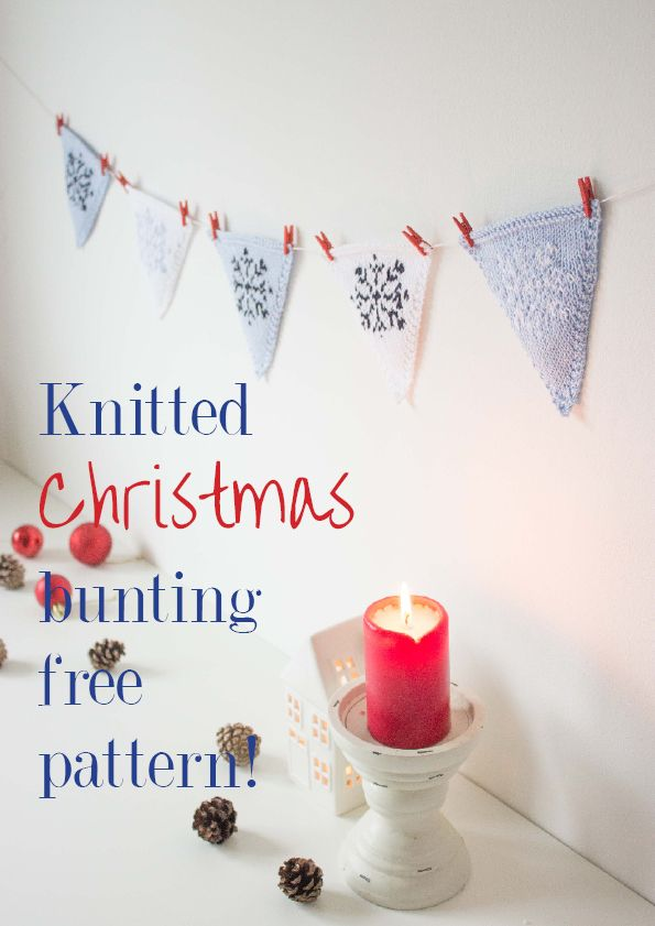 Nordic snowflake Christmas bunting - free knitting pattern | from ...