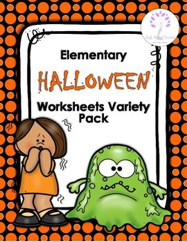 Elementary HALLOWEEN Worksheets Variety Pack   Halloween ...
