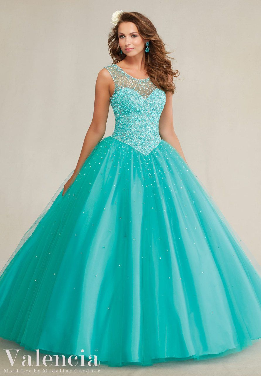 beaded tulle ball gown style quinceanera dress tanjim