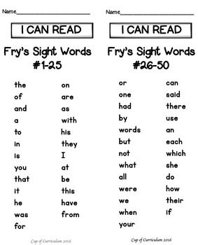 Sight Word Speed Drills {Dr  Fry's First 100 Words} | blends