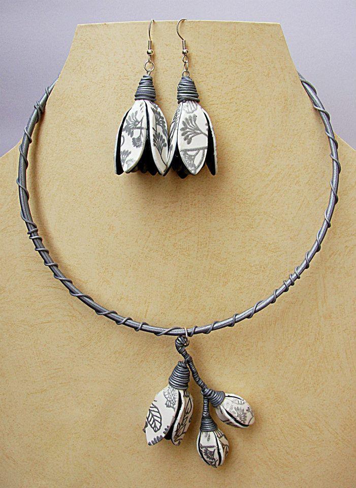 Zdeňka Táborská - set šperků s tulipánky z polymerové hmoty podle workshopu Moniky Brýdové