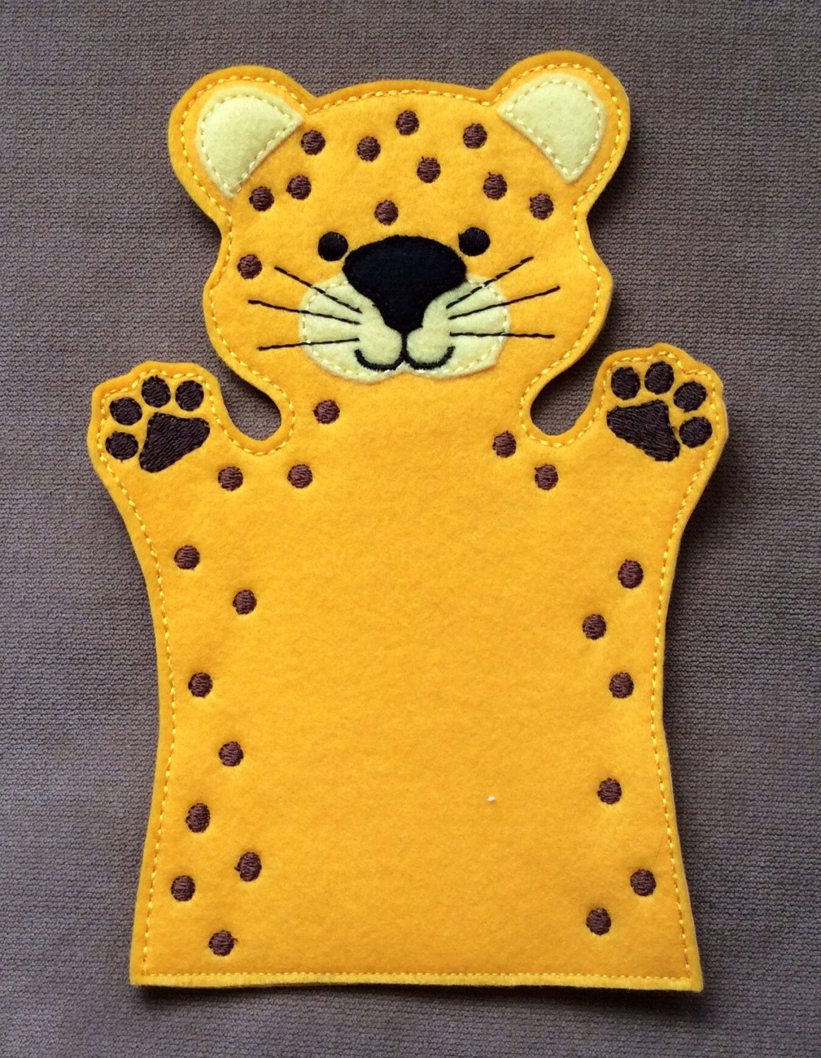 Cheetah safari animal felt puppet adult kid and for Dog crafts for adults