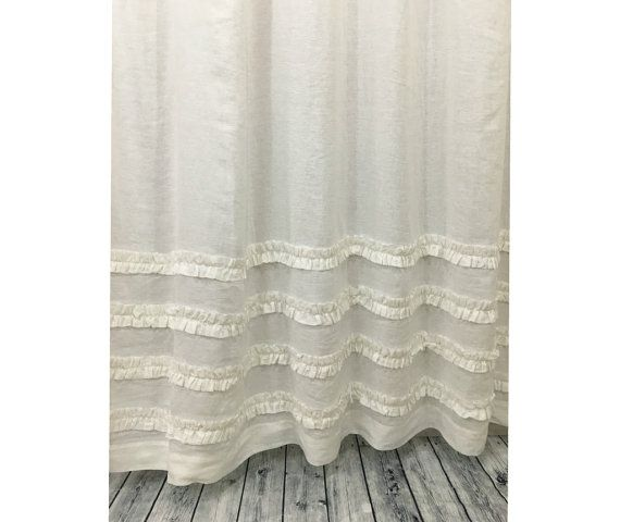 Natural Linen Shower Curtain Features 4 Rows Of Ruffles Adding A Hint Of Elegance To Casual Ticking Stripes On This Pure Flex Extra Long Shower Curtain Curtains